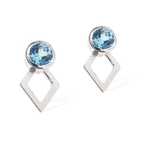 JAEGER EARRINGS -  Sterling Silver with Swiss Blue Topaz