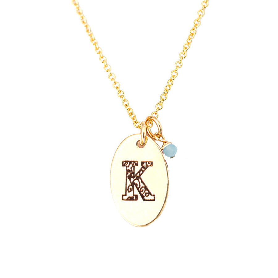 K - Birthstone Love Letters Necklace Gold and Aquamarine