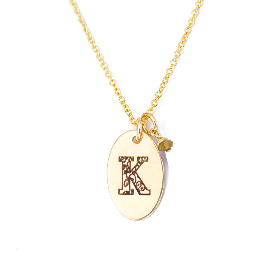 K - Birthstone Love Letters Necklace Gold and Citrine
