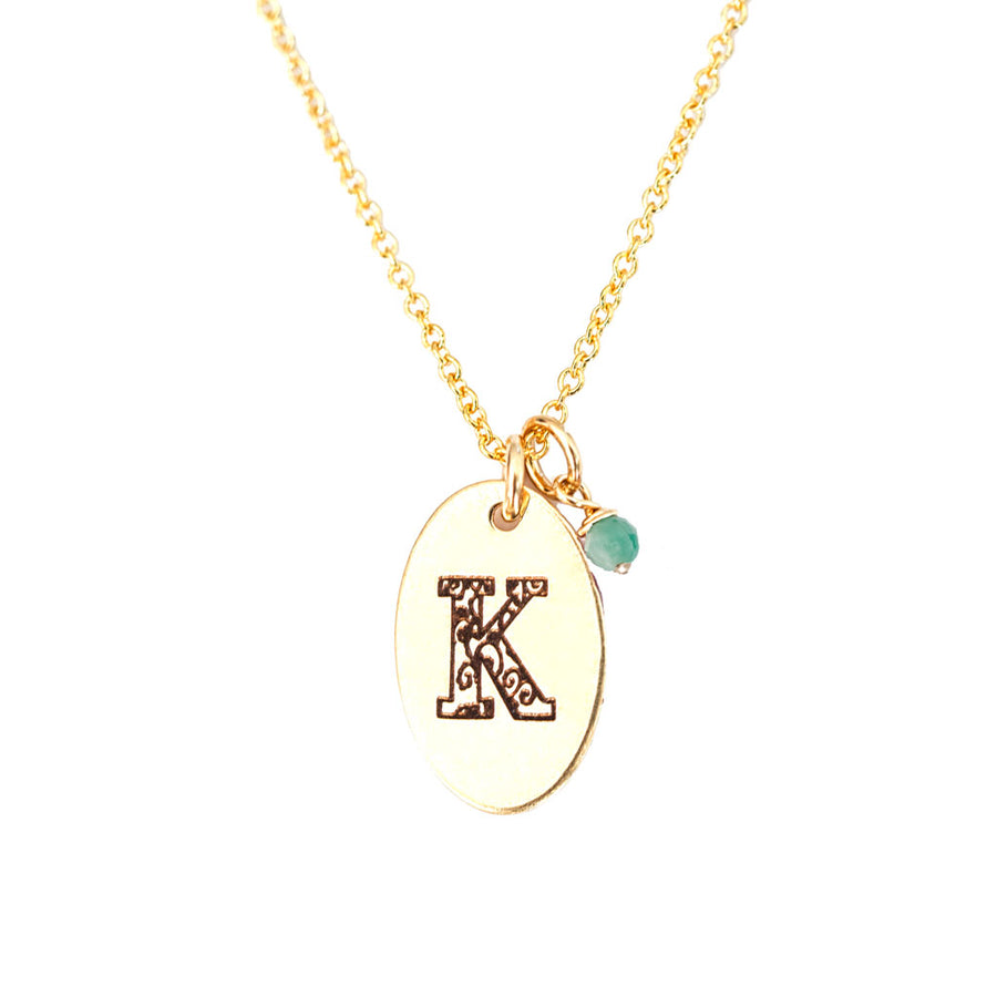 K - Birthstone Love Letters Necklace Gold and Emerald