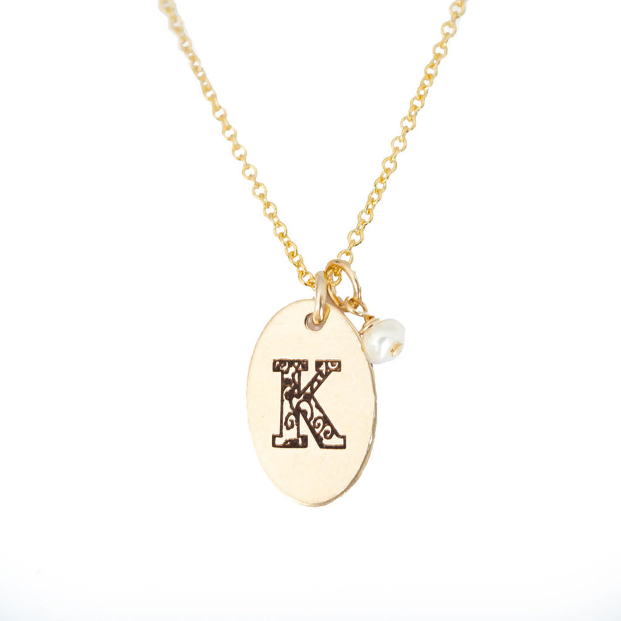 K - Birthstone Love Letters Necklace Gold and Pearl