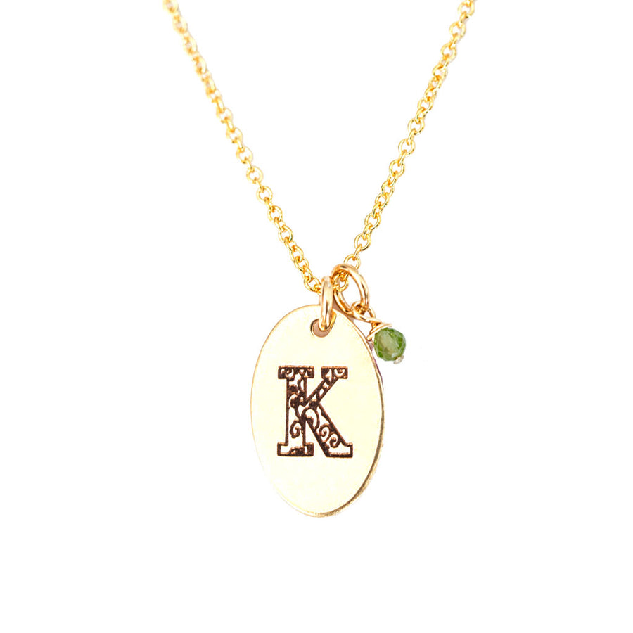 K - Birthstone Love Letters Necklace Gold and Peridot