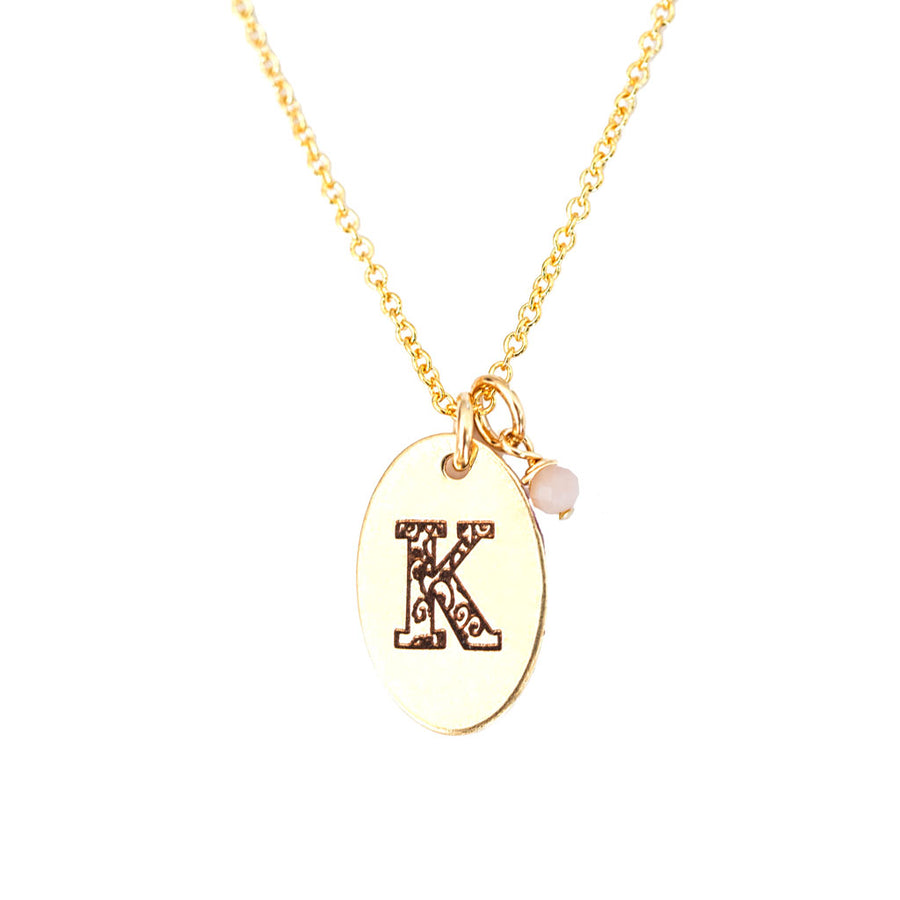 K - Birthstone Love Letters Necklace Gold and Pink Opal