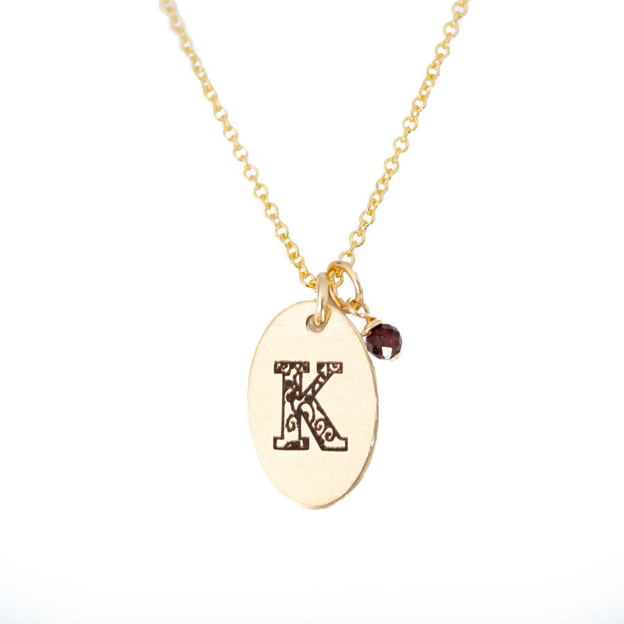 K - Birthstone Love Letters Necklace Gold and Red Garnet