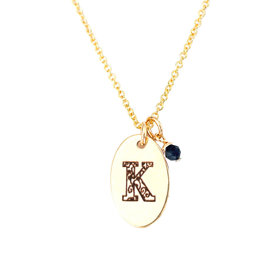 K - Birthstone Love Letters Necklace Gold and Sapphire