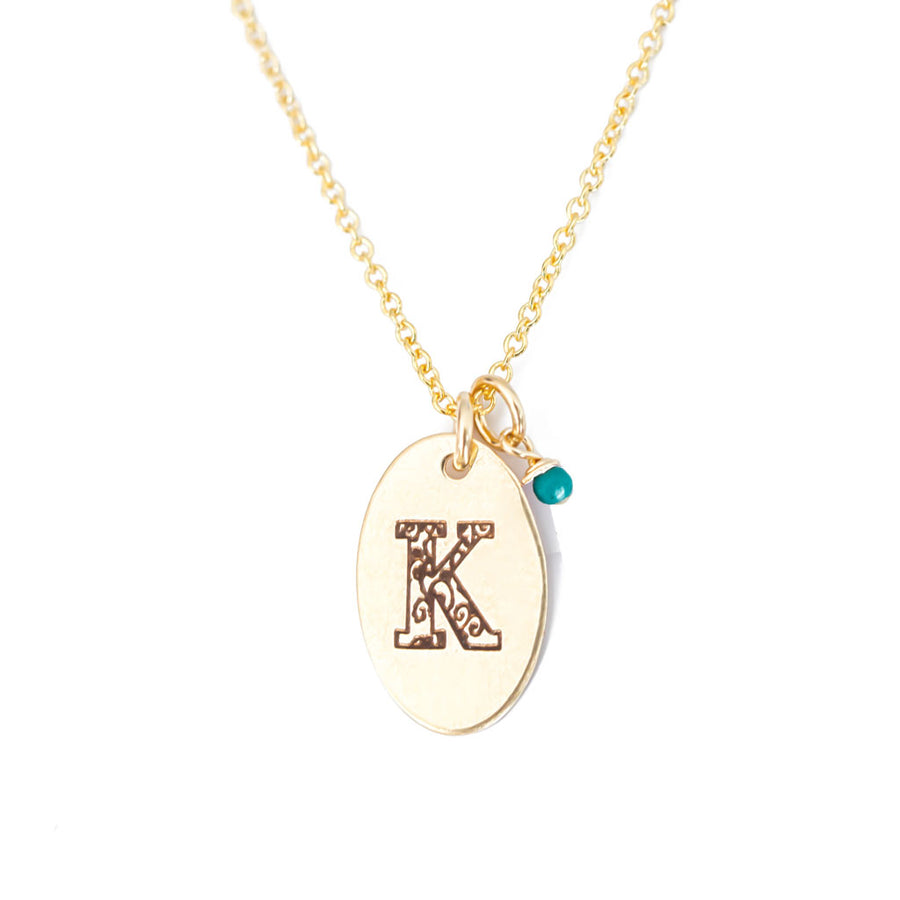 K - Birthstone Love Letters Necklace Gold and Turquoise