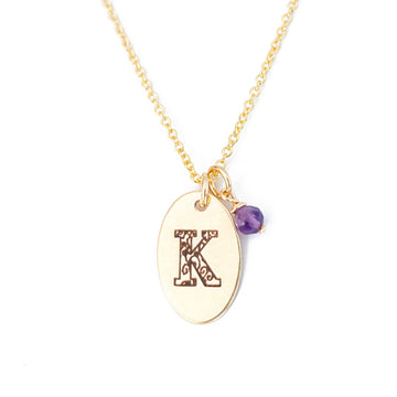 K - Birthstone Love Letters Necklace Gold and Amethyst