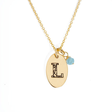 L - Birthstone Love Letters Necklace Gold and Emerald