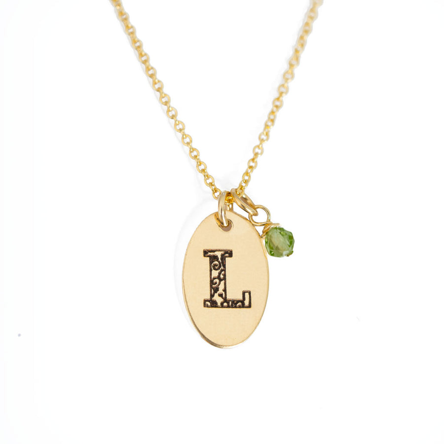 L - Birthstone Love Letters Necklace Gold and Peridot