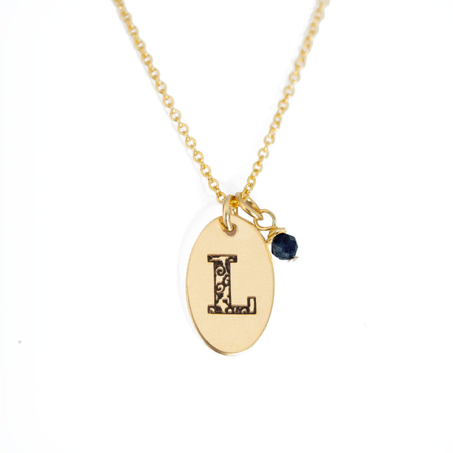 L - Birthstone Love Letters Necklace Gold and Sapphire