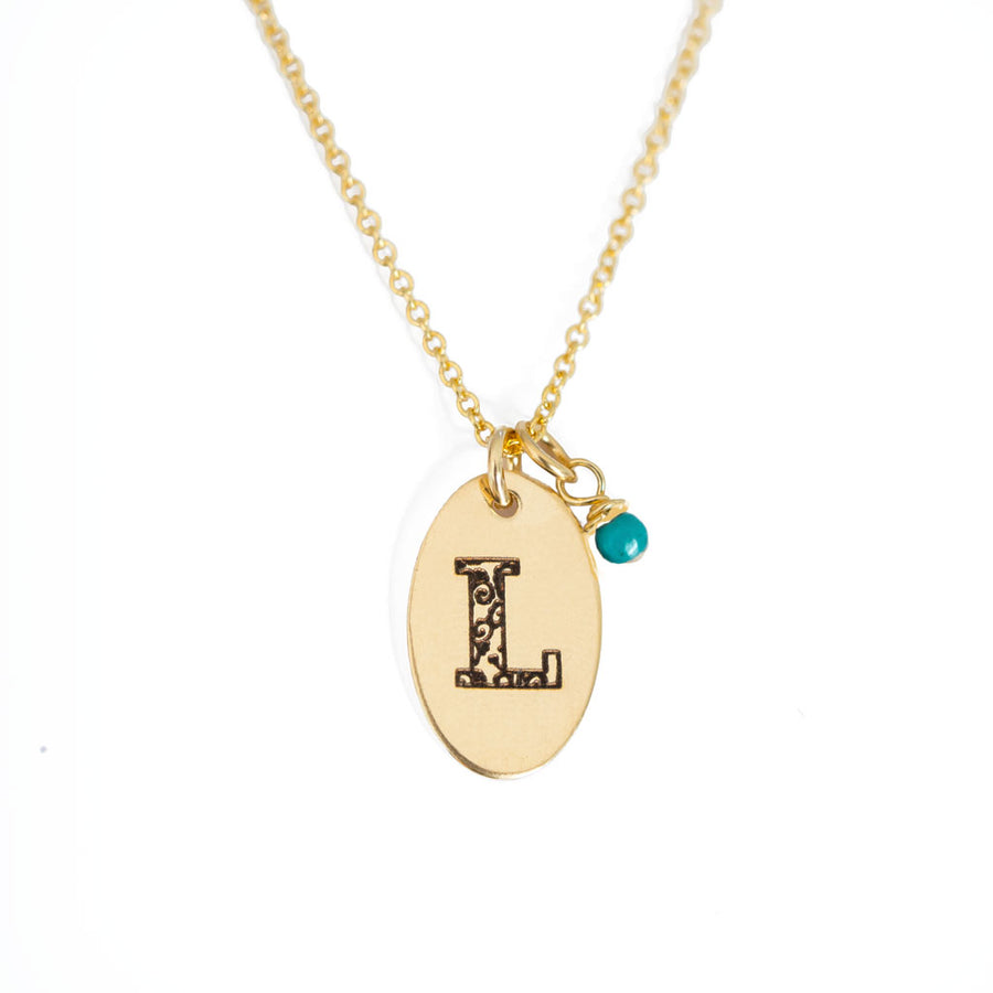L - Birthstone Love Letters Necklace Gold and Turquoise