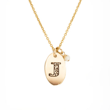 J - Birthstone Love Letters Necklace Gold and Pearl