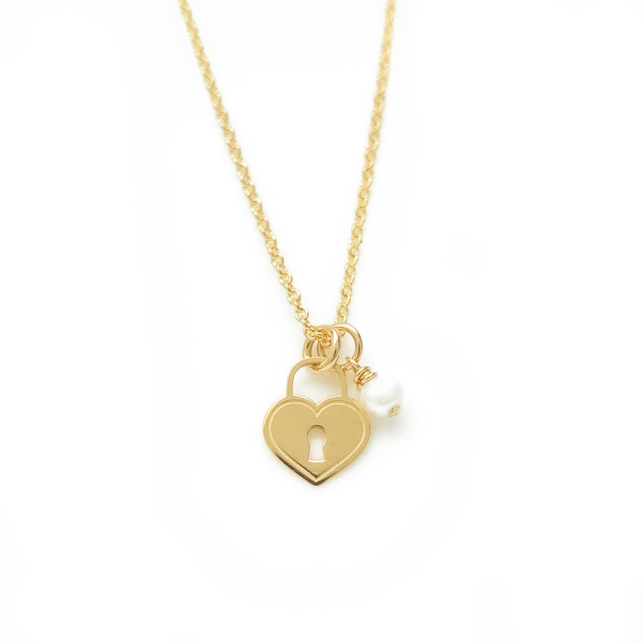Love Locket Necklace - Gold and Pearl