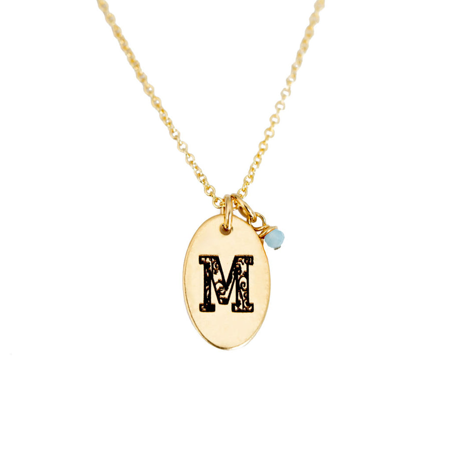 M - Birthstone Love Letters Necklace Gold and Aquamarine