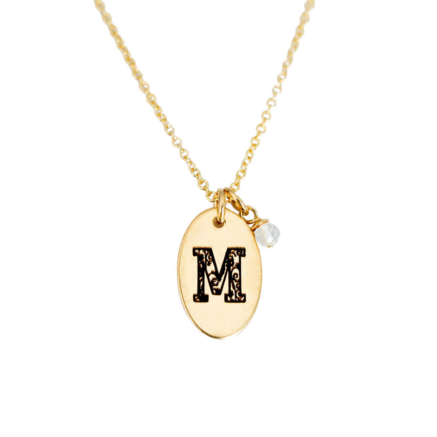 M - Birthstone Love Letters Necklace Gold and Clear Quartz