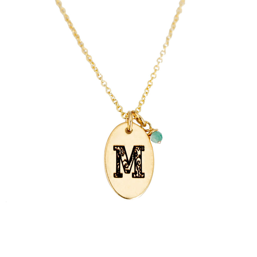 M - Birthstone Love Letters Necklace Gold and Emerald