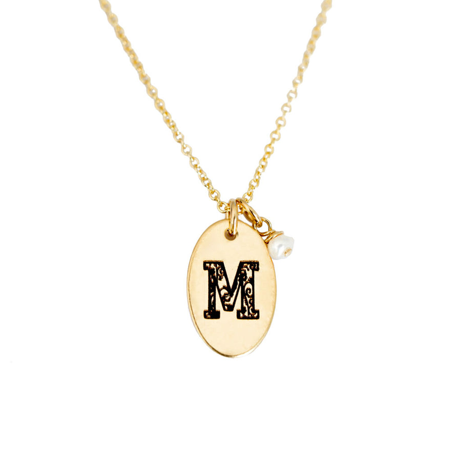 M - Birthstone Love Letters Necklace Gold and Pearl