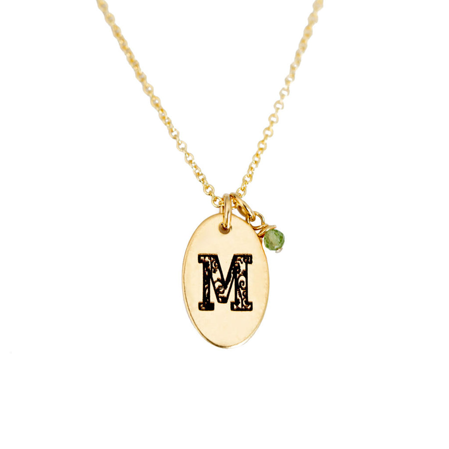 M - Birthstone Love Letters Necklace Gold and Peridot