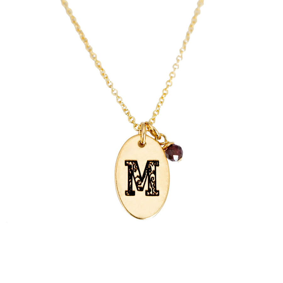 M - Birthstone Love Letters Necklace Gold and Red Garnet