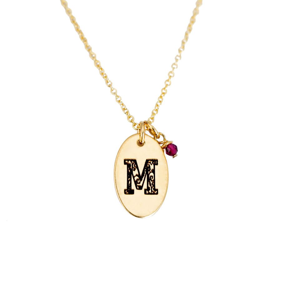 M - Birthstone Love Letters Necklace Gold and Ruby
