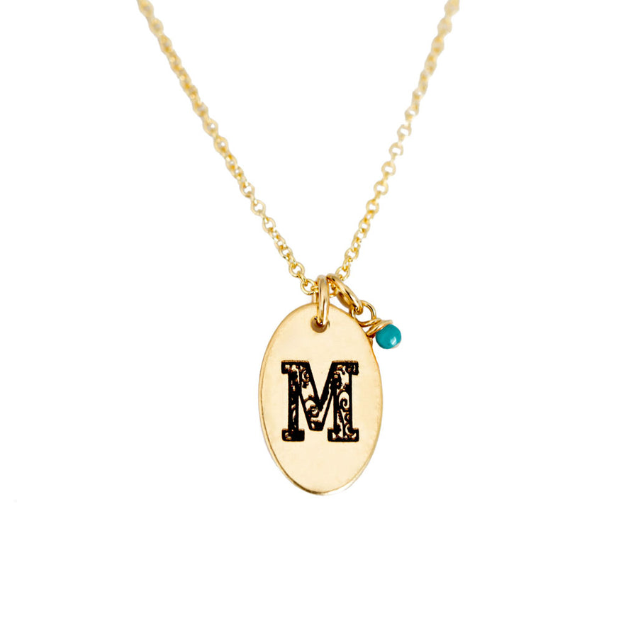 M - Birthstone Love Letters Necklace Gold and Turquoise