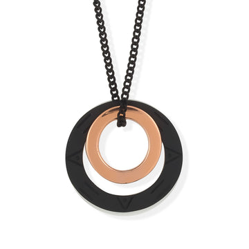 MAGIC CIRCLES PENDANT - Black and Rose Gold
