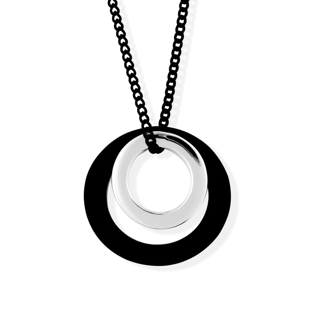MAGIC CIRCLES PENDANT - Black and Rhodium