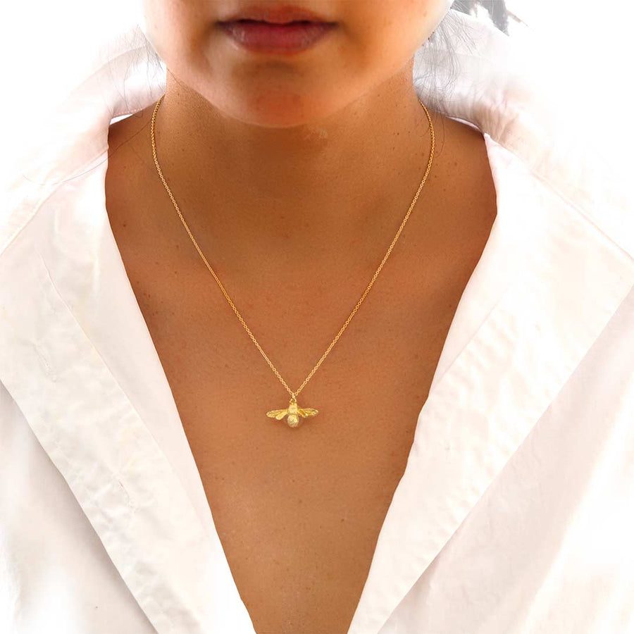 Model wearing Little Bee Necklace - Gold