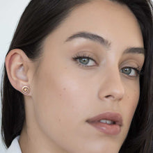 Model wearing Current earrings rose gold