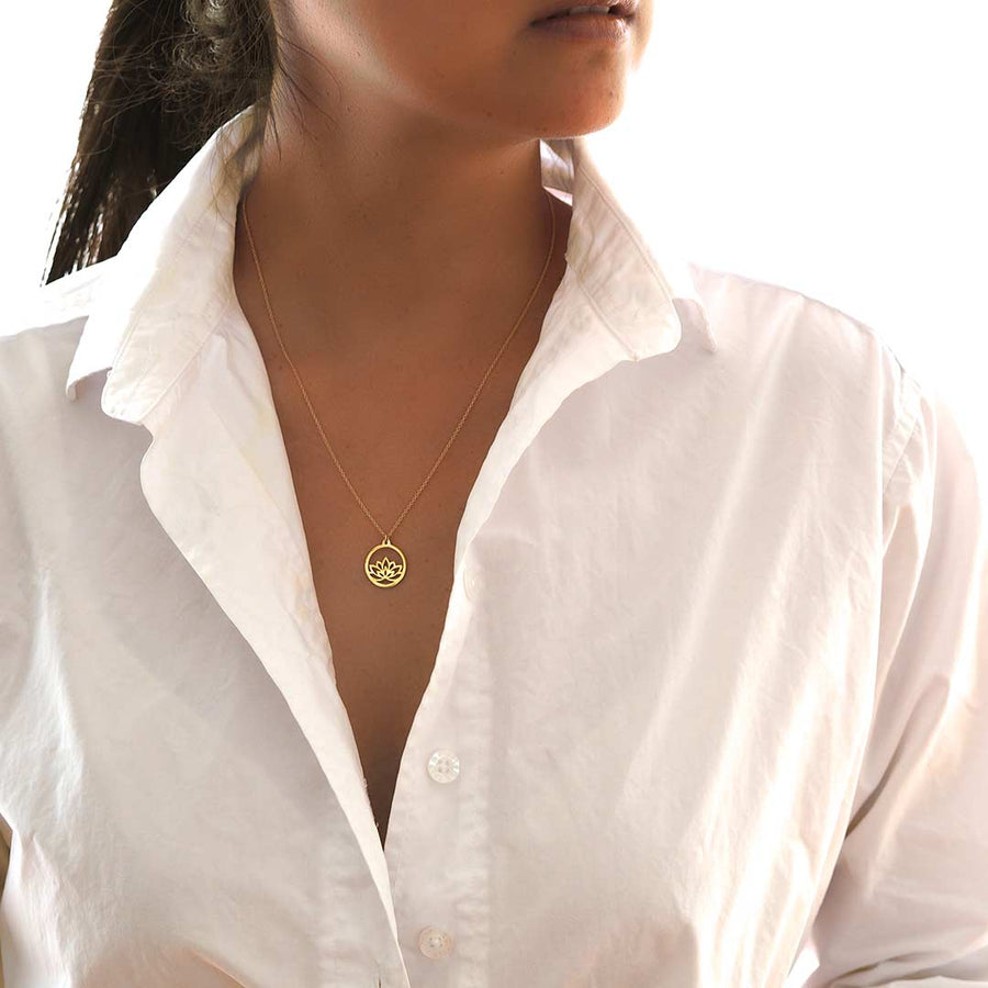 Model wearing Baby Lotus Necklace - Gold
