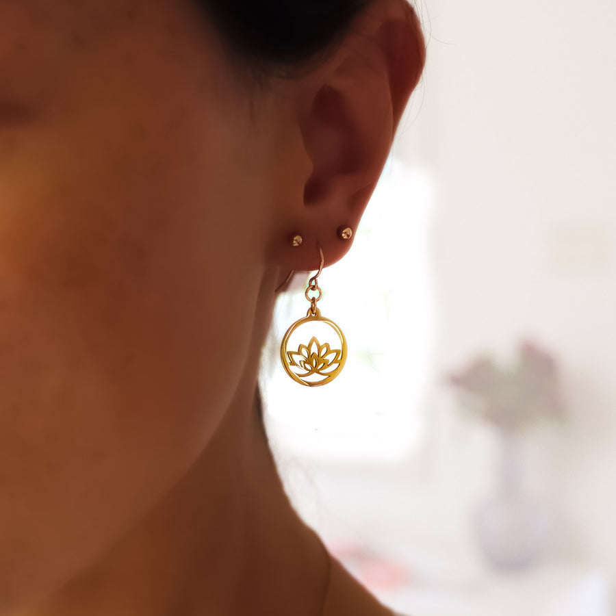 Model wearing Baby Lotus Earrings - Gold