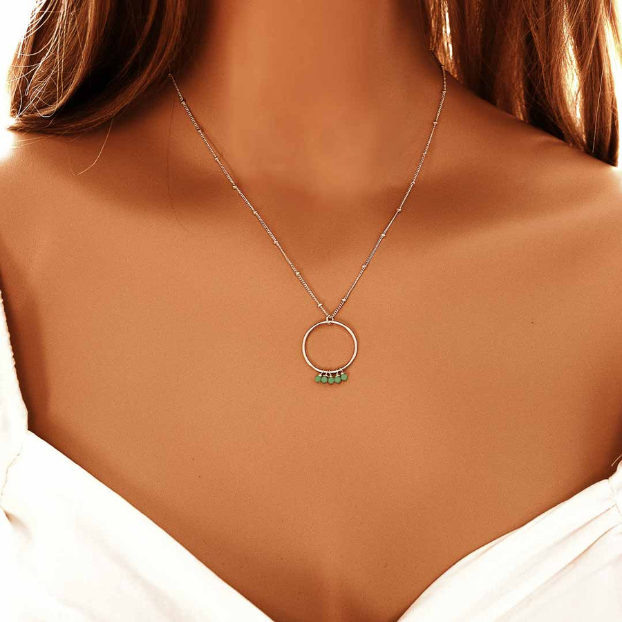 Model wearing Halo Constellation Necklace silver amazonite