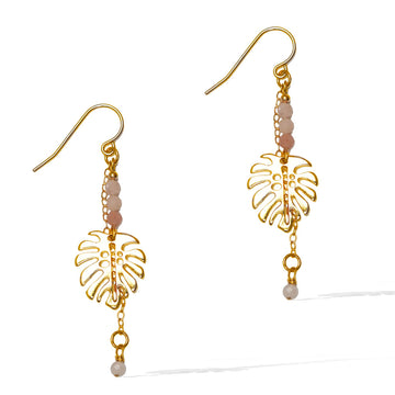 Monstera Pink Opal Drop Earrings - Gold and Pink Opal