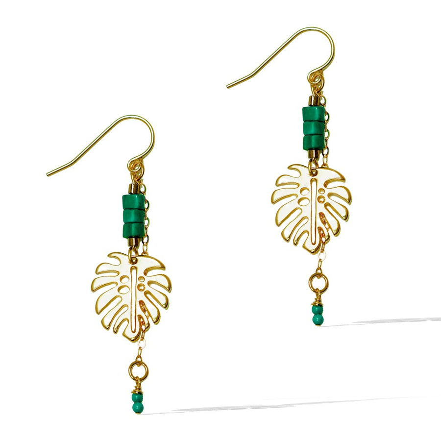Monstera Turquoise Drop Earrings - Gold and Turquoise