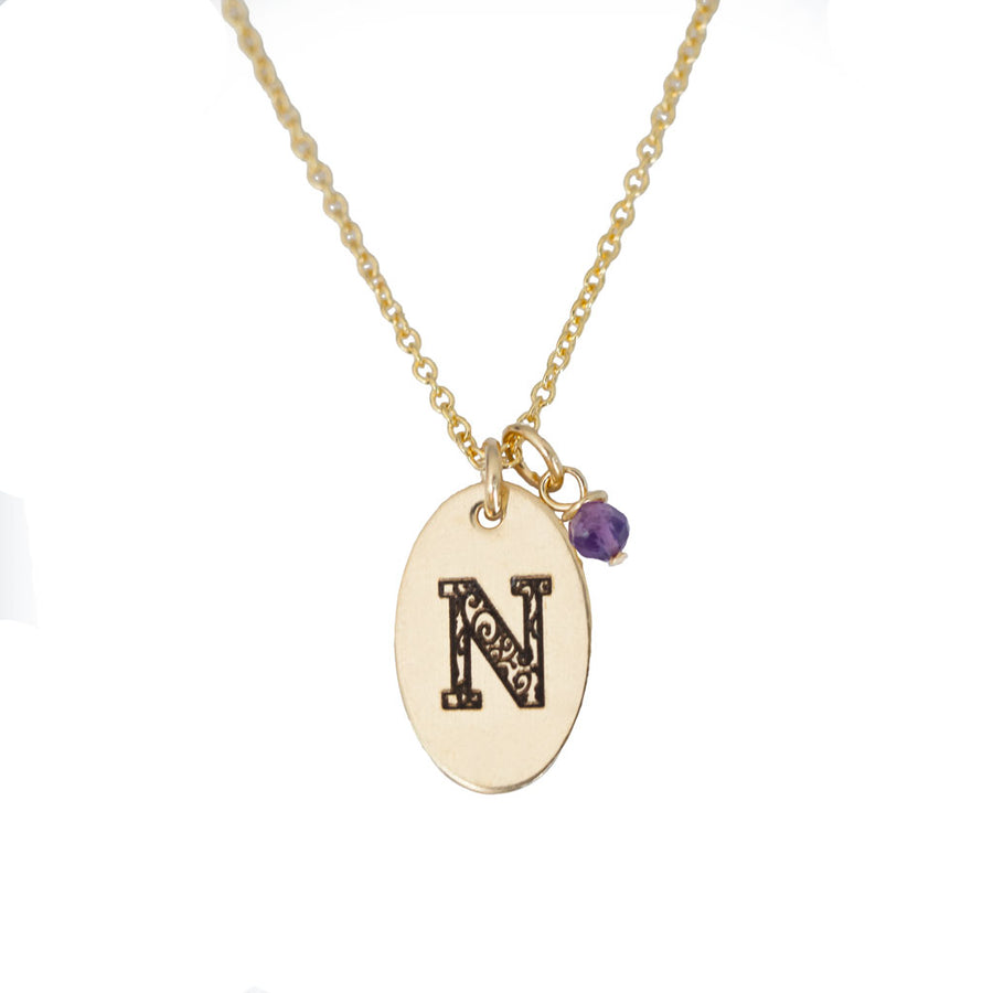 N - Birthstone Love Letters Necklace Gold and Amethyst
