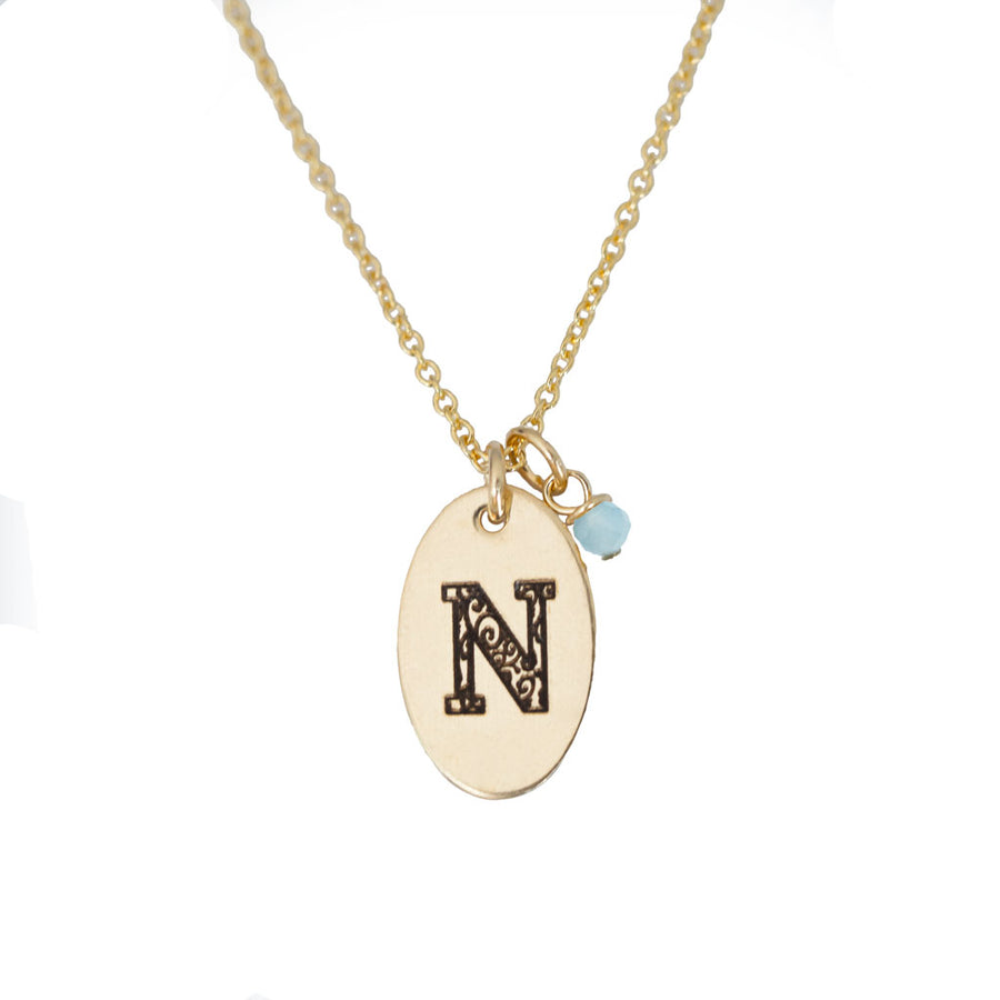 N - Birthstone Love Letters Necklace Gold and Aquamarine