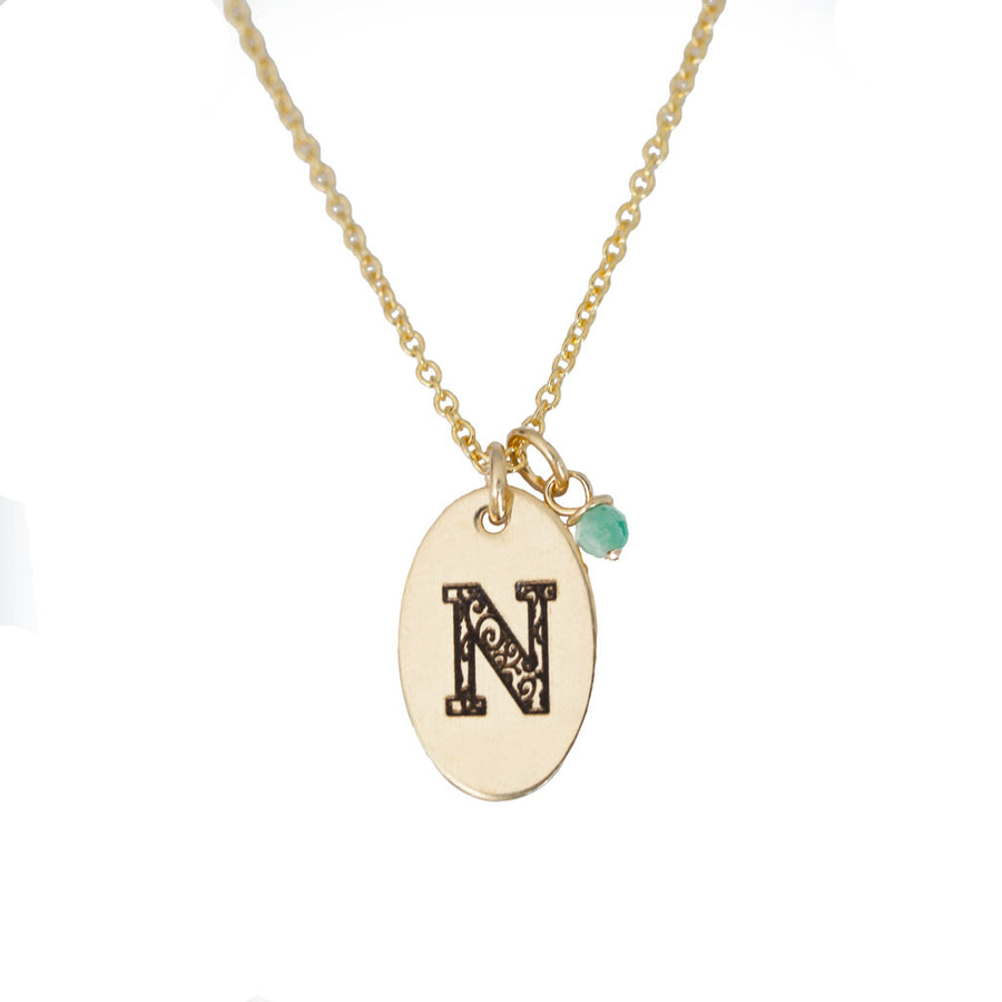 N - Birthstone Love Letters Necklace Gold and Emerald