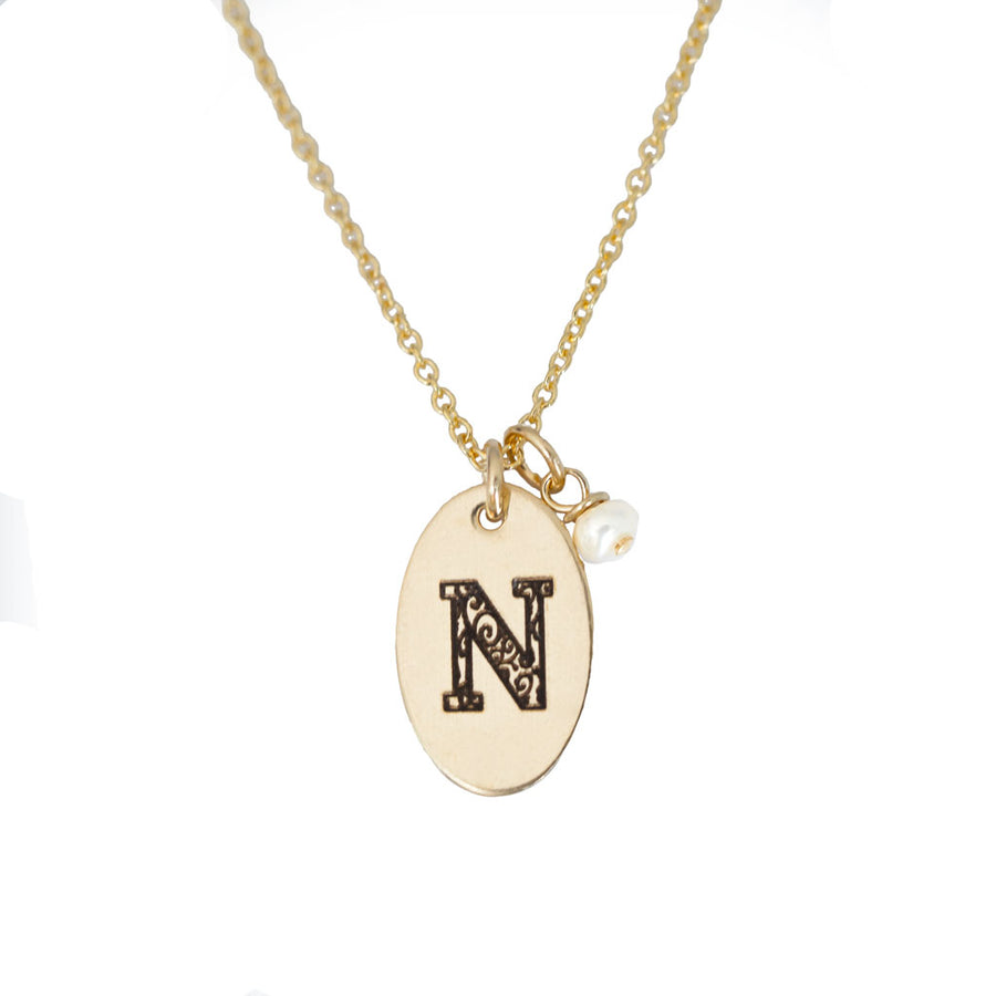 N - Birthstone Love Letters Necklace Gold and Pearl