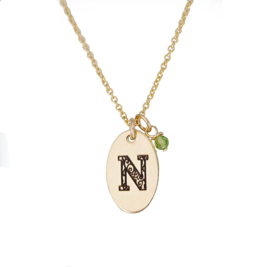 N - Birthstone Love Letters Necklace Gold and Peridot