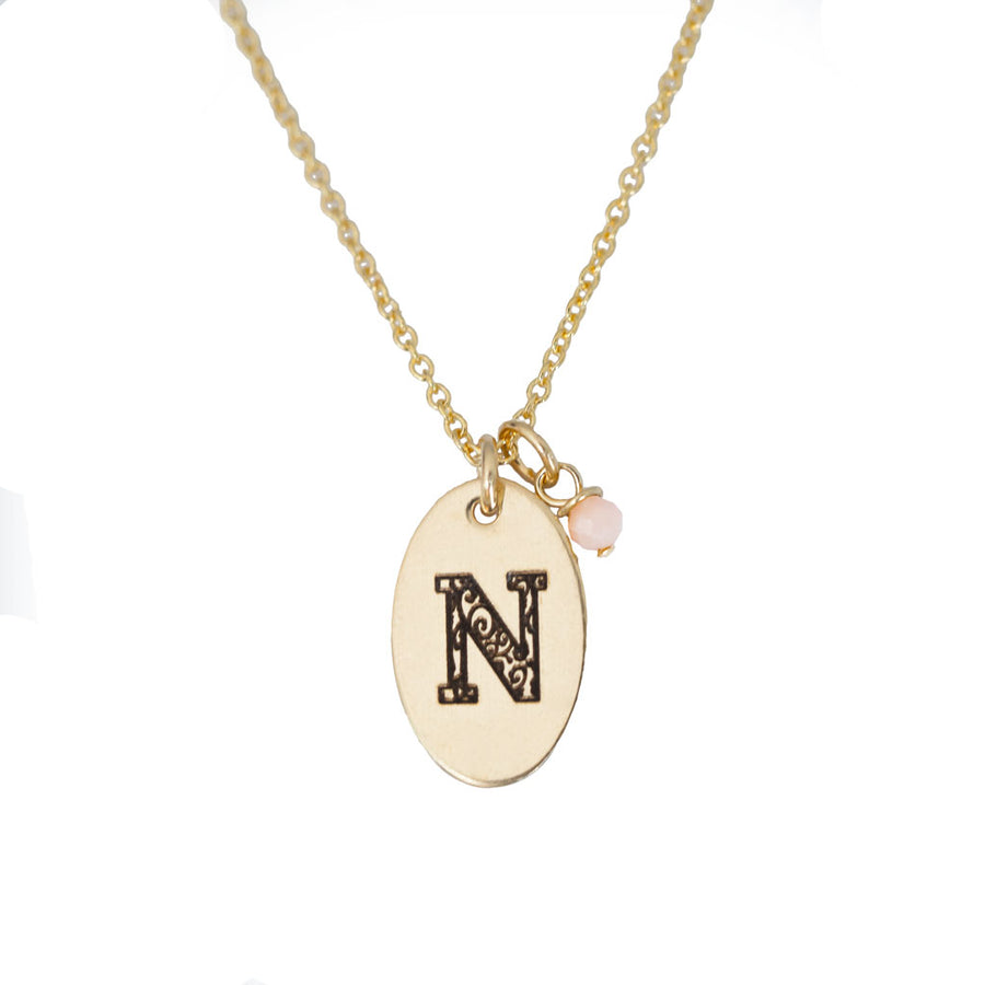 N - Birthstone Love Letters Necklace Gold and Pink Opal