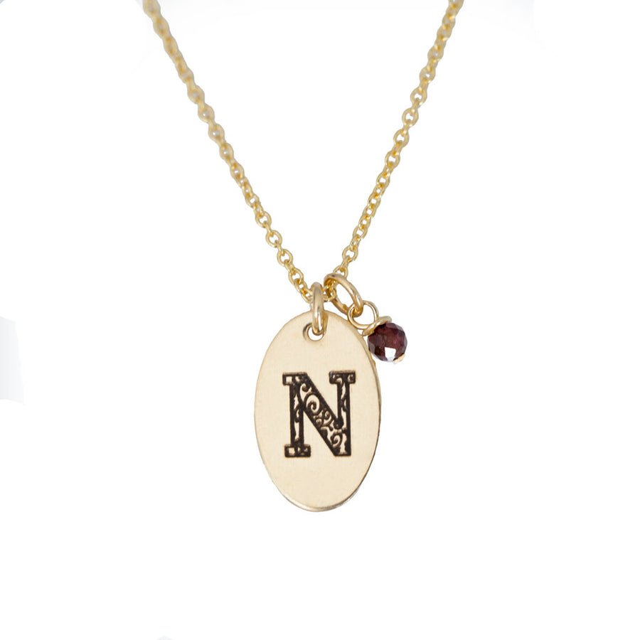 N - Birthstone Love Letters Necklace Gold and Red Garnet
