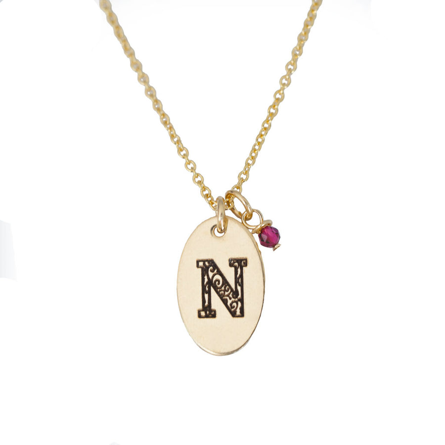 N - Birthstone Love Letters Necklace Gold and Ruby