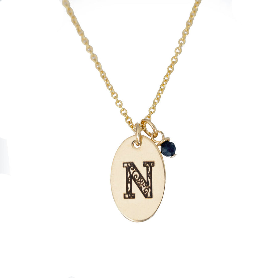 N - Birthstone Love Letters Necklace Gold and Sapphire
