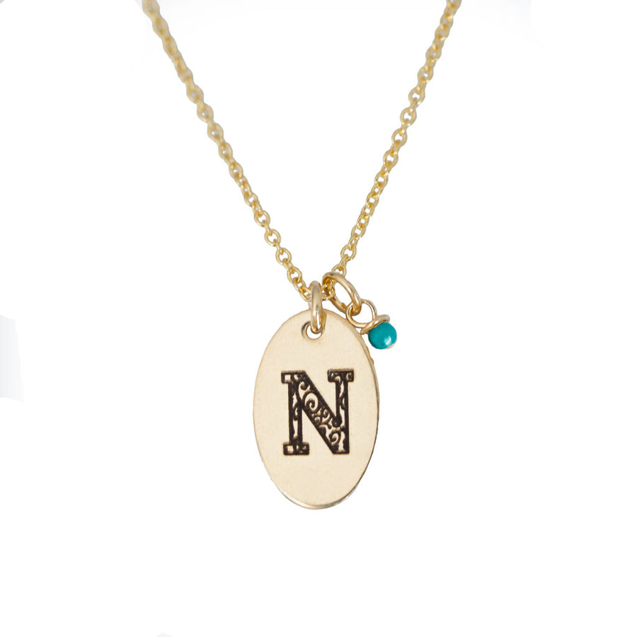 N - Birthstone Love Letters Necklace Gold and Turquoise