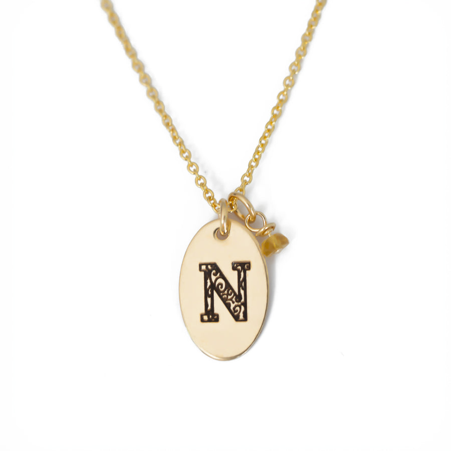 N - Birthstone Love Letters Necklace Gold and Citrine