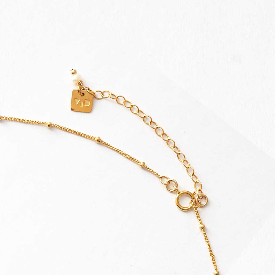 Necklace chain extender gold and pearl
