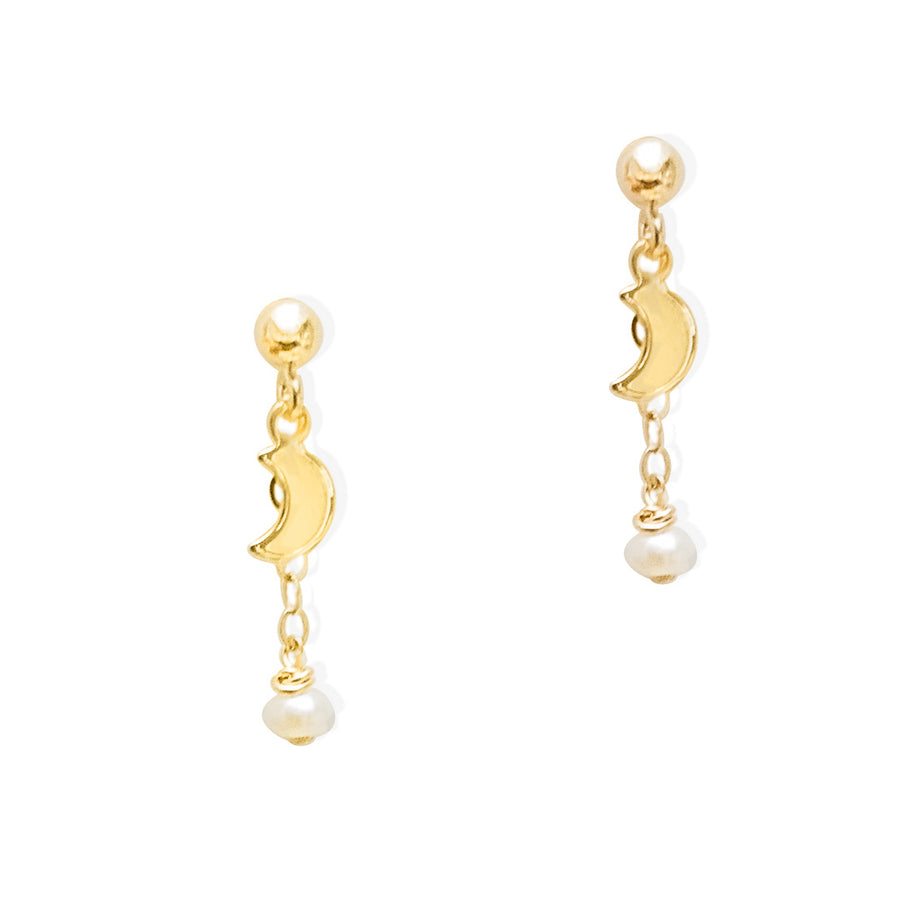 New Moon Earrings - Gold and Pearl