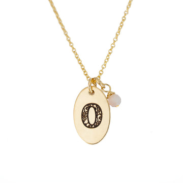 O - Birthstone Love Letters Necklace Gold and Pink Opal