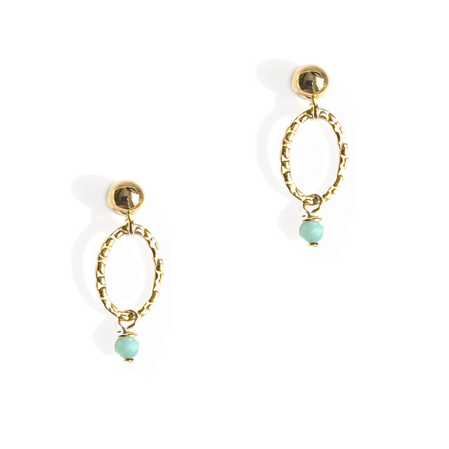 Orbit Mini Earrings - Gold and Amazonite