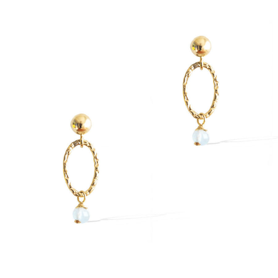 Orbit Mini Earrings - Gold and Aquamarine